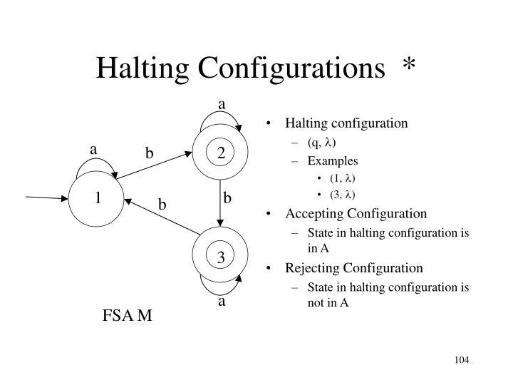 Halting configuration