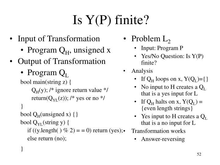 Is Y(P) finite?