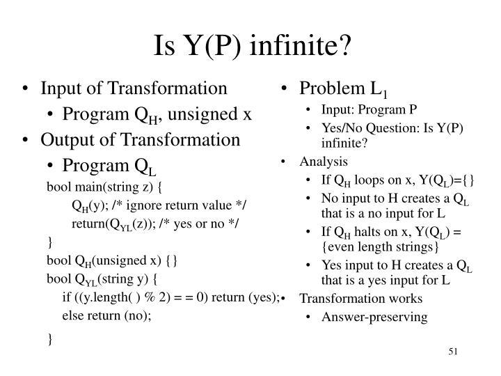 Is Y(P) infinite?