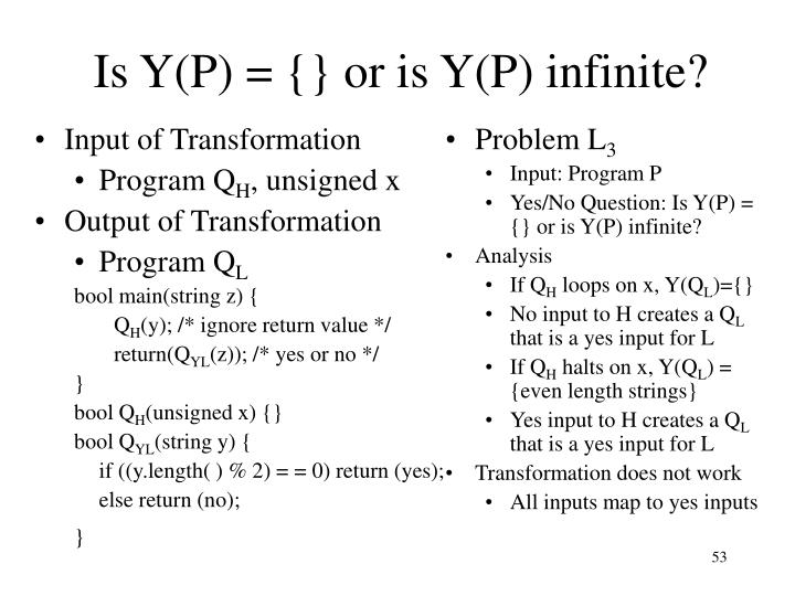 Is Y(P) = {} or is Y(P) infinite?