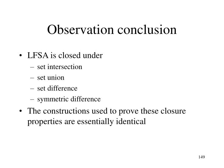Observation conclusion