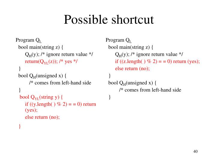 Possible shortcut