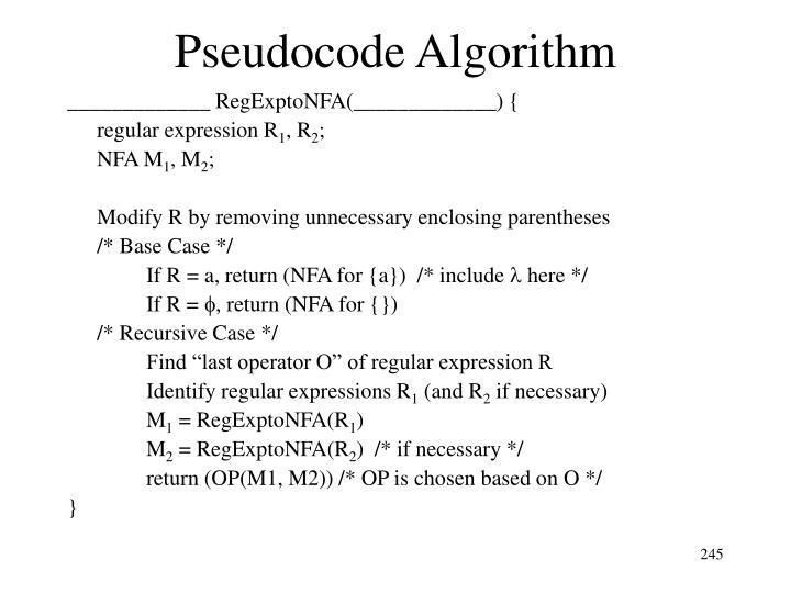 Pseudocode Algorithm