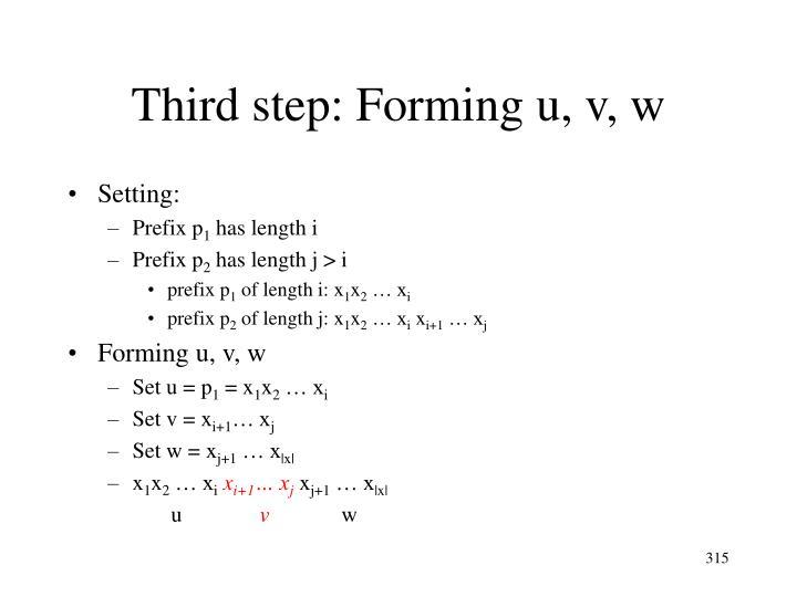 Third step: Forming u, v, w