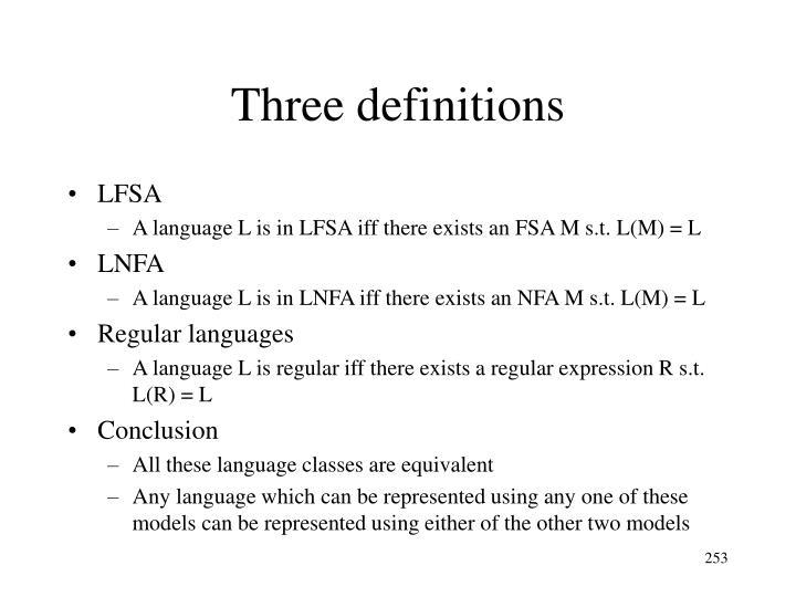 Three definitions