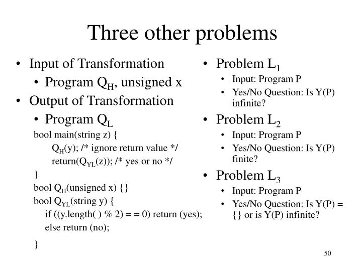 Three other problems