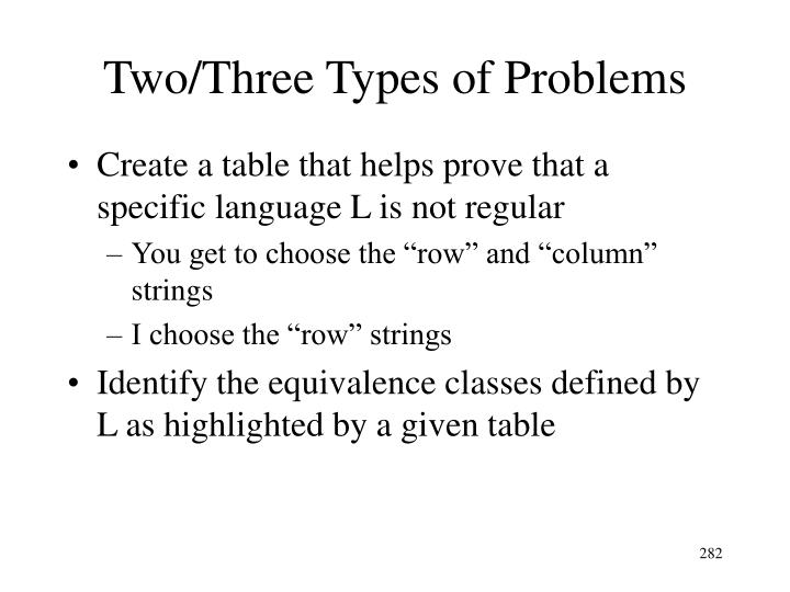 Two/Three Types of Problems