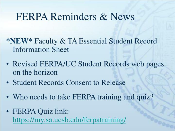 FERPA Reminders & News