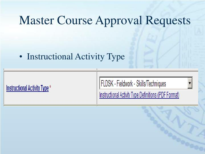 Master Course Approval Requests
