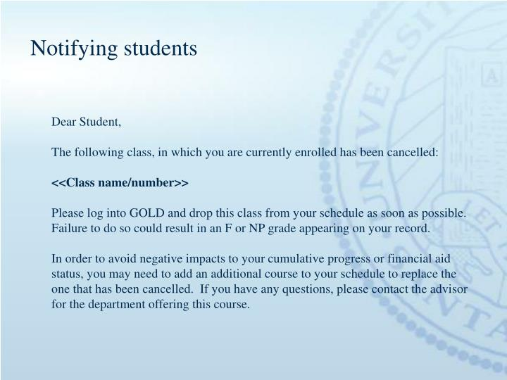 Notifying students