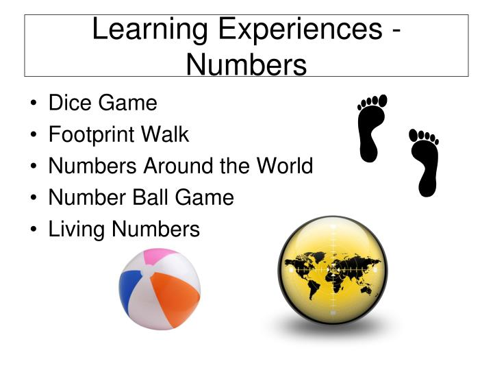 Learning Experiences - Numbers