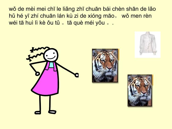 wǒ de mèi mei chī le liǎng zhī chuān bái chèn shān de lǎo hǔ hé yī zhí chuān lán kù zi de xióng māo