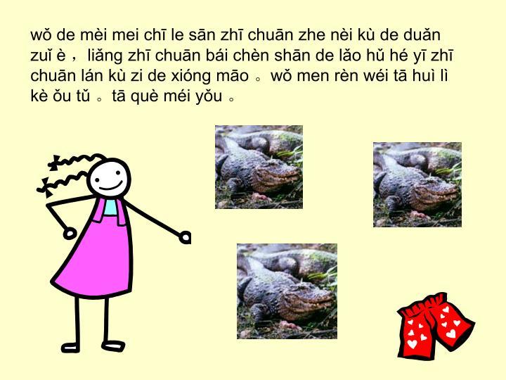 wǒ de mèi mei chī le sān zhī chuān zhe nèi kù de duǎn zuǐ è