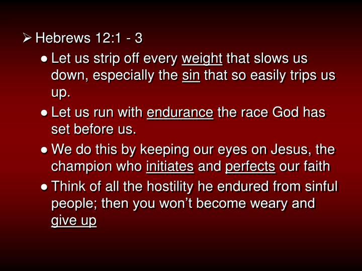 Hebrews 12:1 - 3