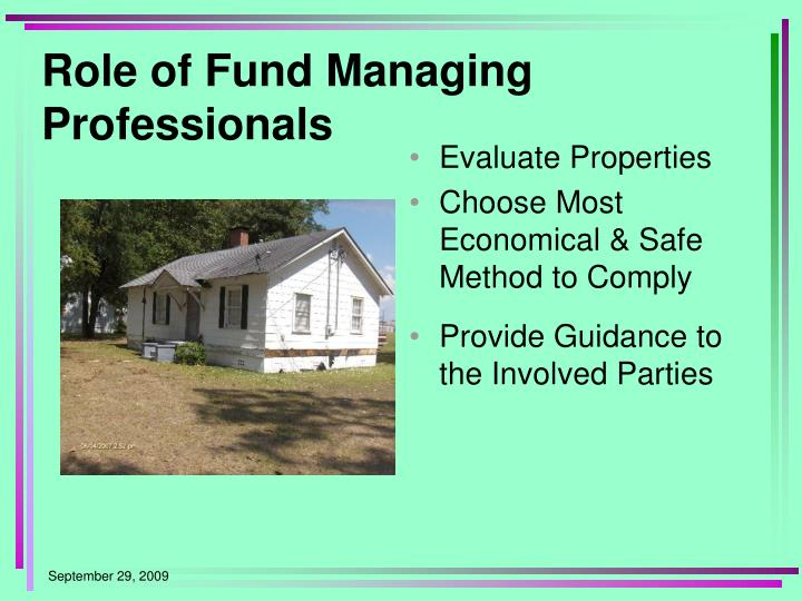 Role of Fund Managing Professionals