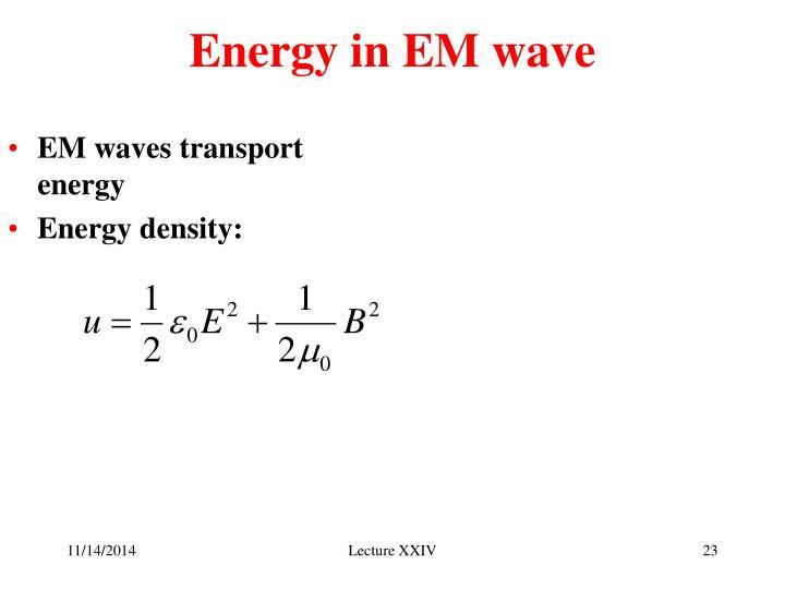 Energy in EM wave