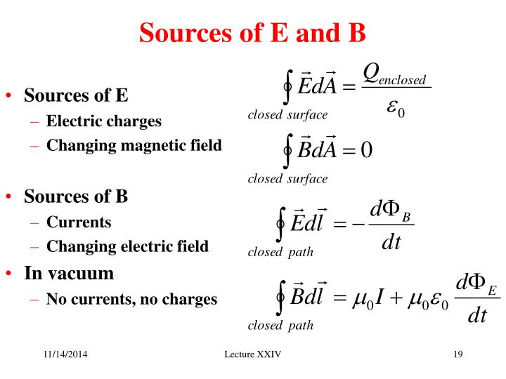 Sources of E and B