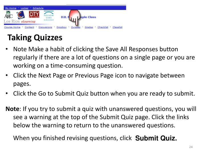 Taking Quizzes