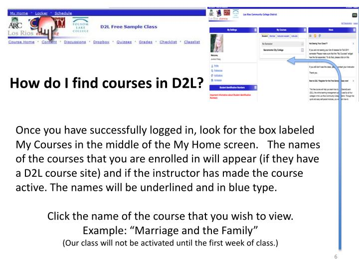 How do I find courses in D2L?