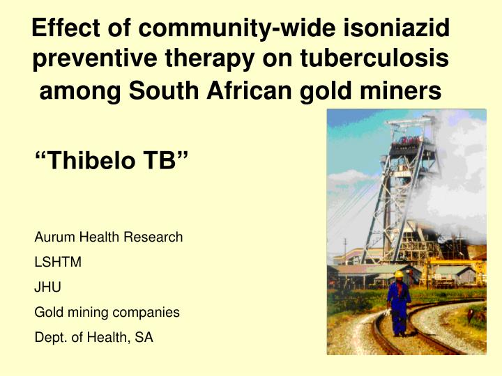 Effect of community-wide isoniazid preventive therapy on tuberculosis among South African gold miner...