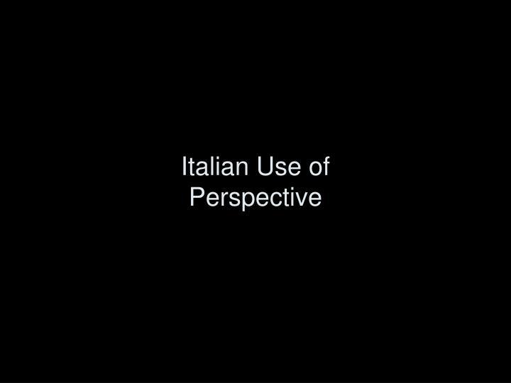 Italian Use of