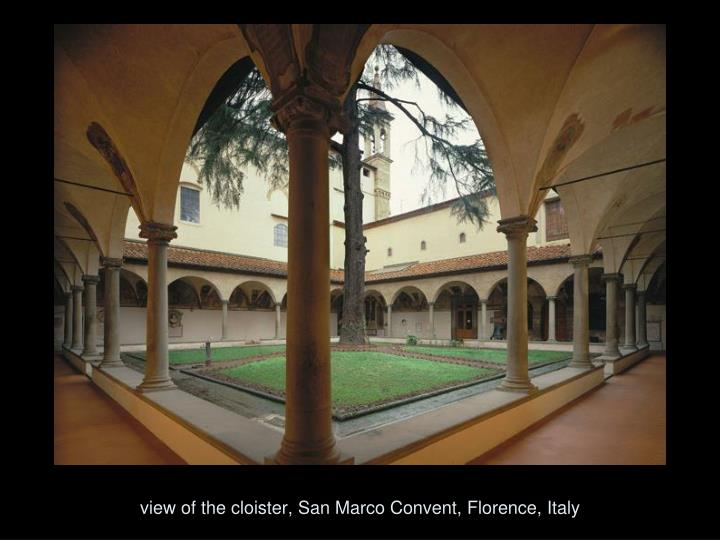 view of the cloister, San Marco Convent, Florence, Italy