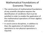 mathematical foundations of economic theory