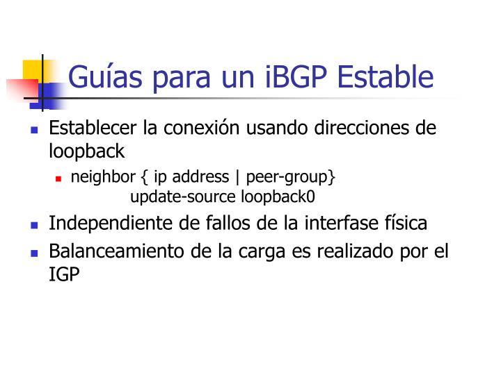 Guías para un iBGP Estable
