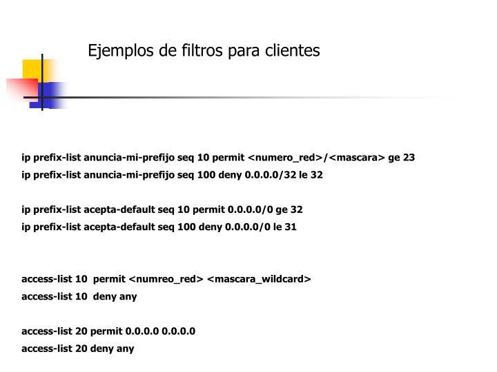 Ejemplos de filtros para clientes