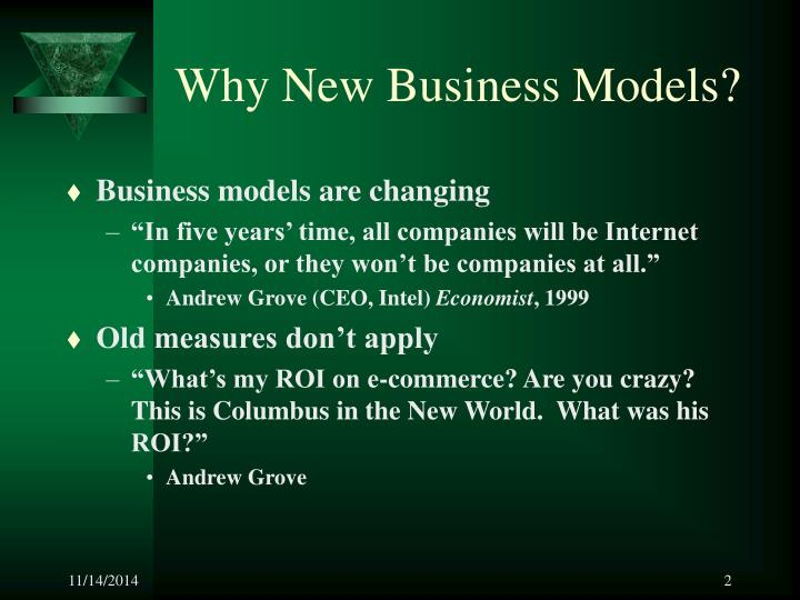 Why new business models