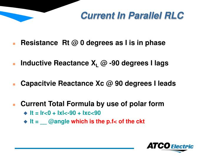 Current in parallel rlc
