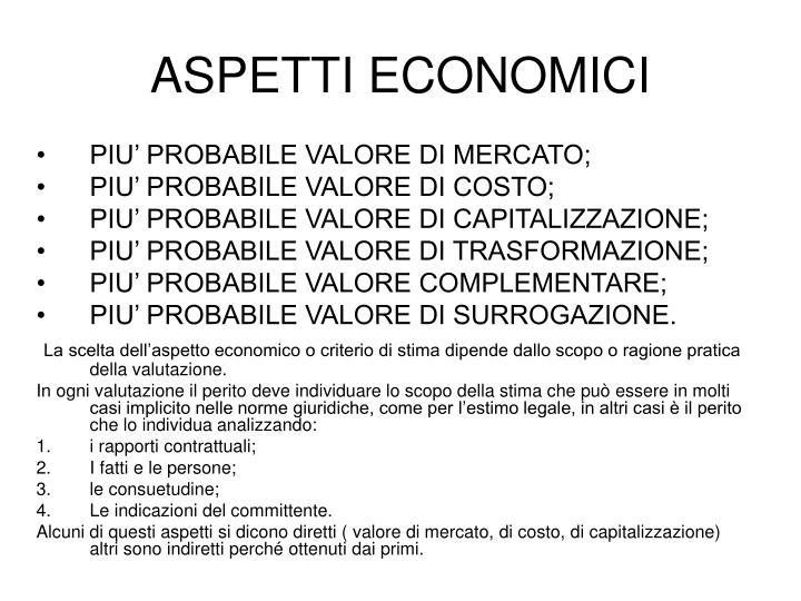 ASPETTI ECONOMICI