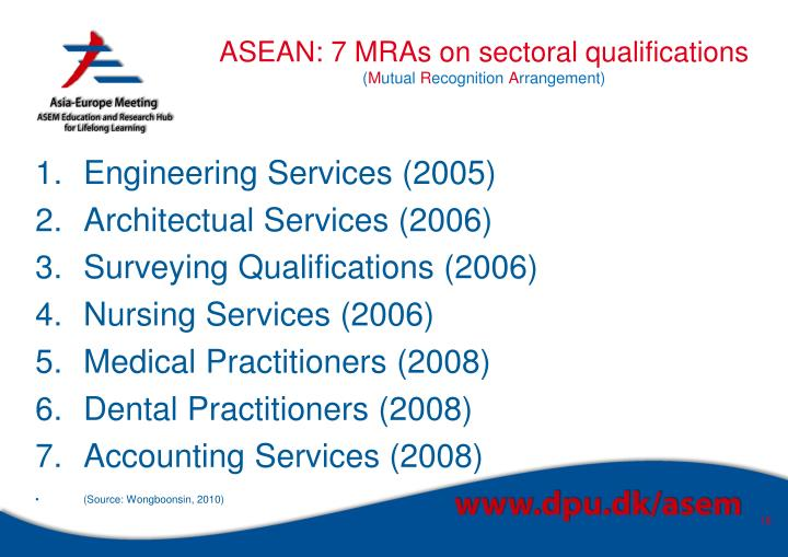 ASEAN: 7 MRAs on sectoral qualifications