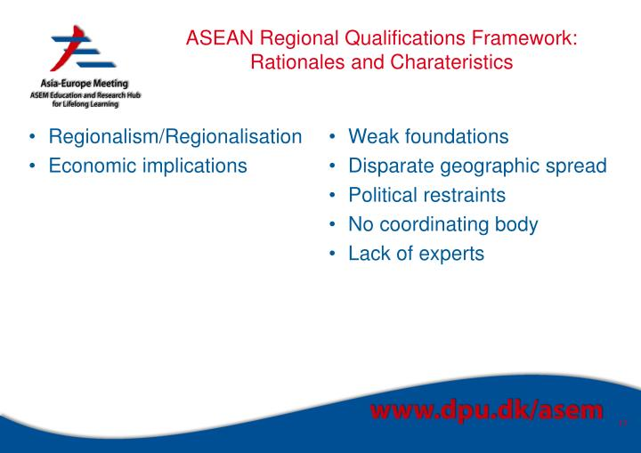 ASEAN Regional Qualifications Framework: