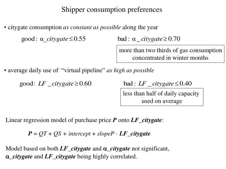 Shipper consumption preferences