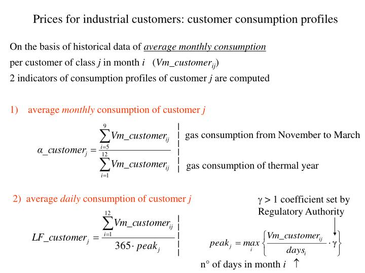 Prices for industrial customers: customer consumption profiles