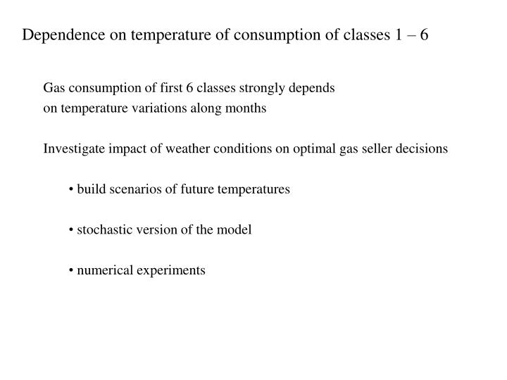 Dependence on temperature of consumption of classes 1