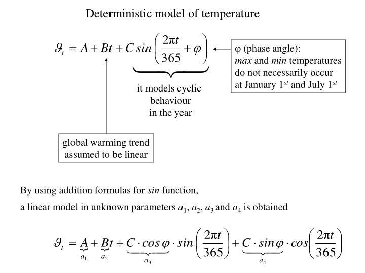 Deterministic model of temperature