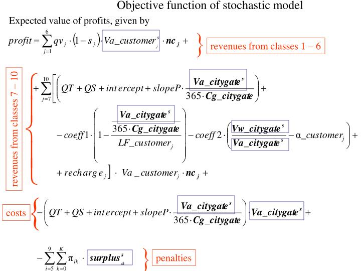 Objective function of stochastic model