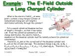 example the e field outside a long charged cylinder