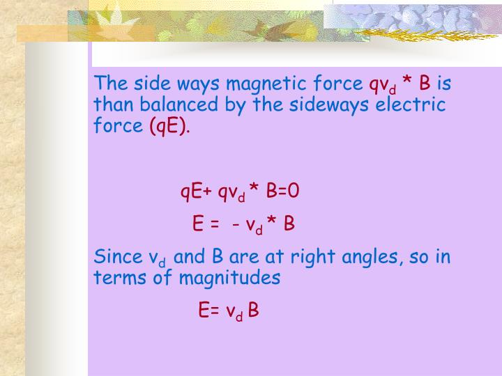 The side ways magnetic force