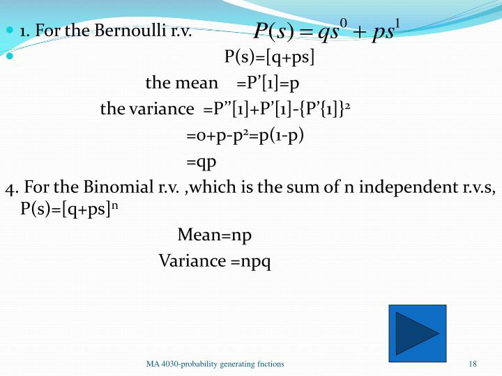 1. For the Bernoulli r.v.