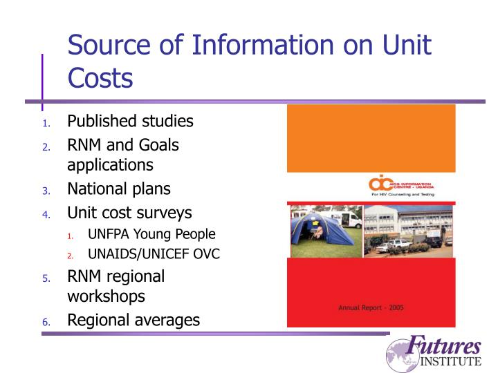 Source of Information on Unit Costs