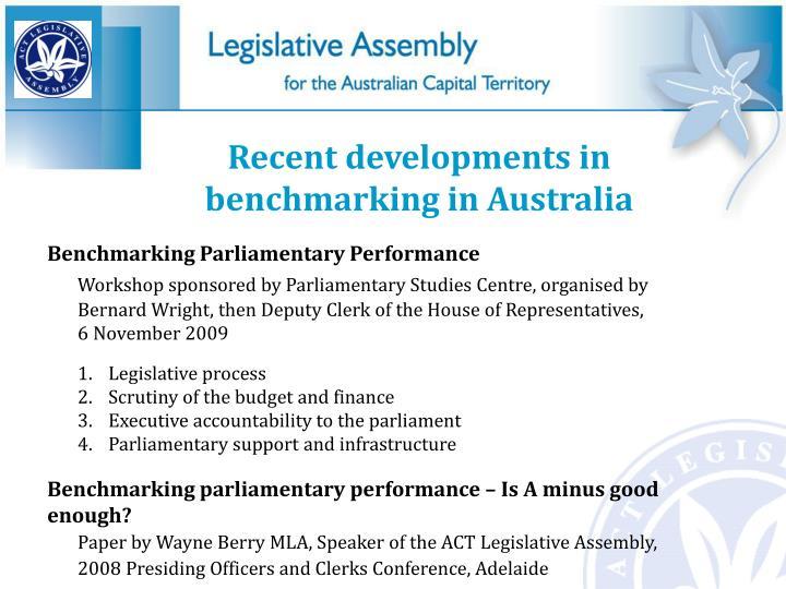 Recent developments in benchmarking in Australia