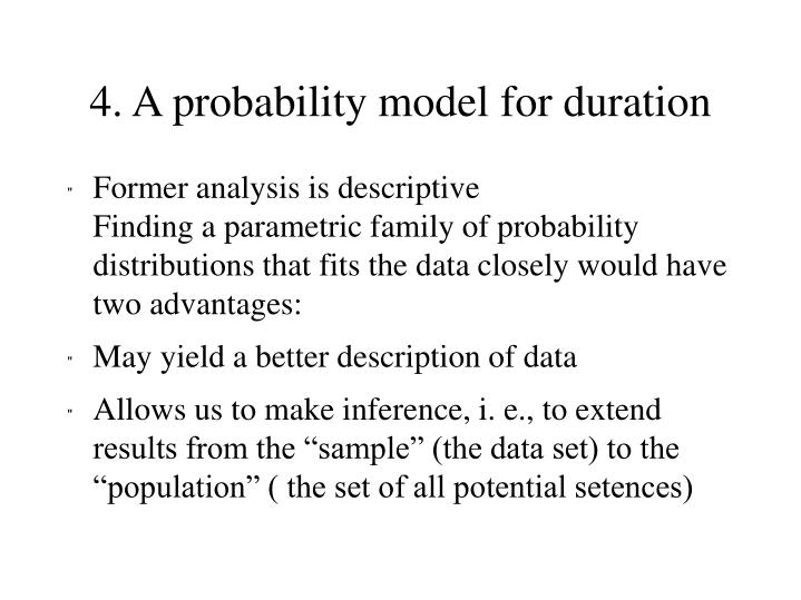 4. A probability model for duration