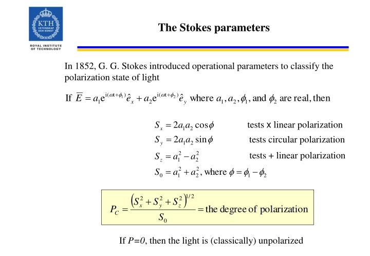 The Stokes parameters