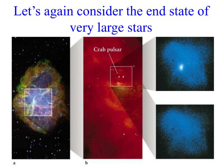Let's again consider the end state of very large stars