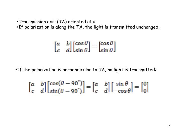 Transmission axis (TA) oriented at