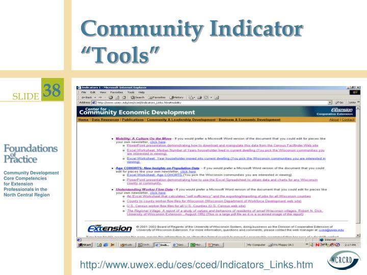 "Community Indicator ""Tools"""