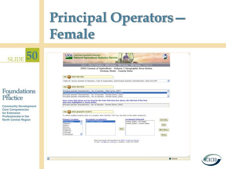 Principal Operators—Female